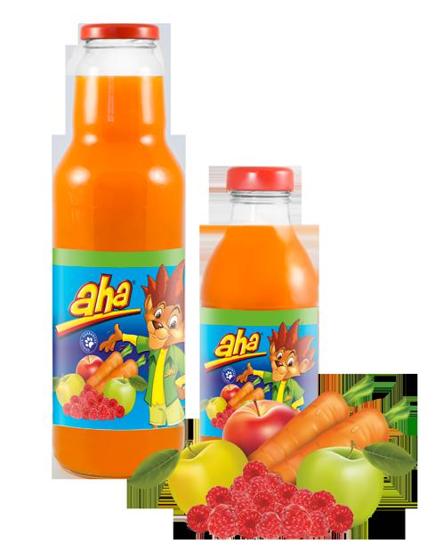 AHA morkų, obuolių, aviečių nektaras
